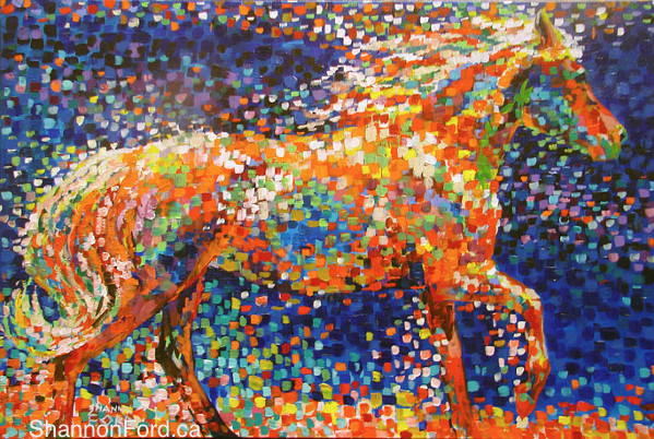 "Shannon Ford, Heaven is that which blows between the ears of a horse, acrylic with diamond dust, 24"" x 36"""