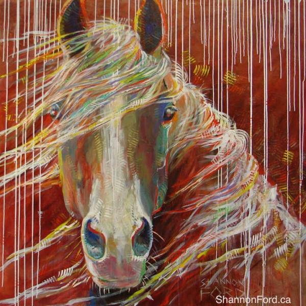 Shannon Ford, Windblown Stallion, 60 X 60
