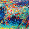 "Shannon Ford, Heaven is that which blows between the ears of a horse, acrylic on canvas with diamond dust, 36"" x 60"""