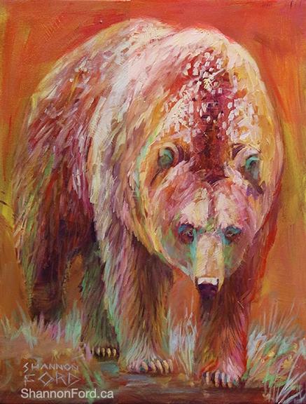 Shannon Ford, Peachy Grizzly, 24 X 20 N, Acrylic on Canvas with Diamond Dust lr
