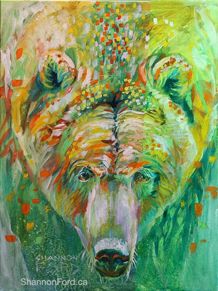 Shannon Ford, Grizzly with Lime, 24 X 18 N, Acrylic on Canvas with Diamond Dust lr