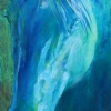 Shannon Ford, Moonlight Gaze, 48 X 18, Acrylic with Turquoise, inspired by Smokin Lynx Olena of D Bar K Ranch, Oliver BC