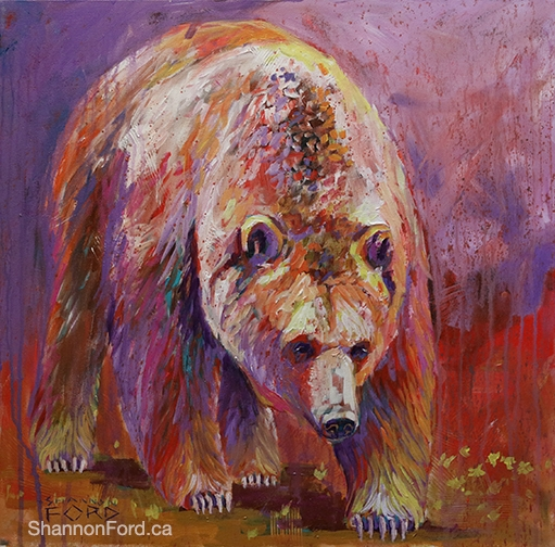 Shannon Ford, Dandylion Grizzly , 24 X 24 N, Acrylic on Canvas with Diamond Dust lr