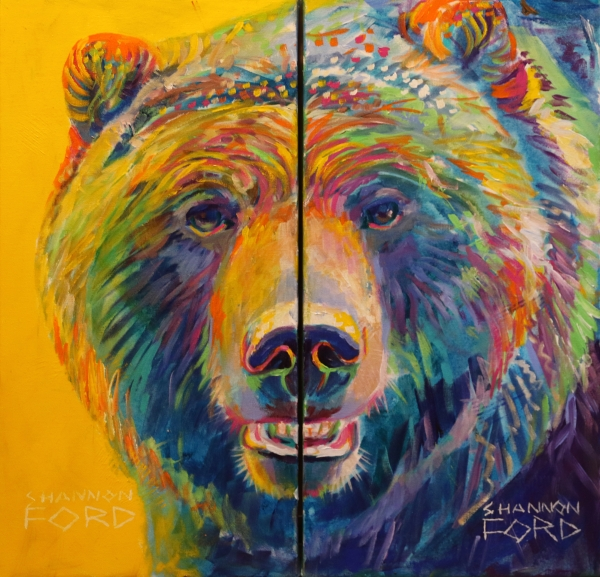 Shannon Ford, Grizzly Bear Smile, Acrylic on Canvas with Diamond Dust lr