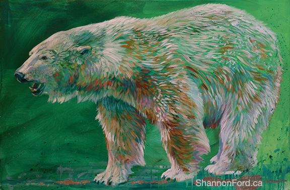 Shannon Ford, Polar Green, 24 X 36 D, Acrylic on Canvas with Palladium cut Emeralds and Diamond Dust lr