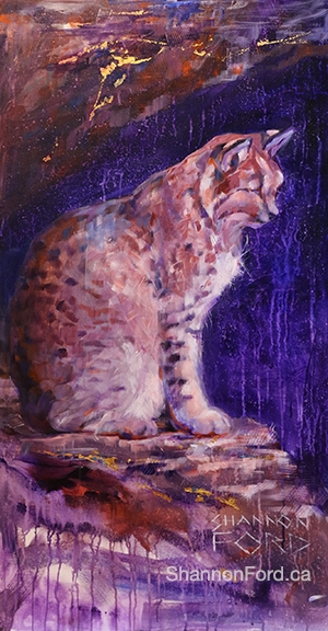 Shannon Ford, Purrfect Place for a Bobcat , 48 X 24 D, Acrylic on Canvas with Diamond Dust, 24 K Gold, Turquoise, Sugalite, Diamond Dust, cut sapphires lr