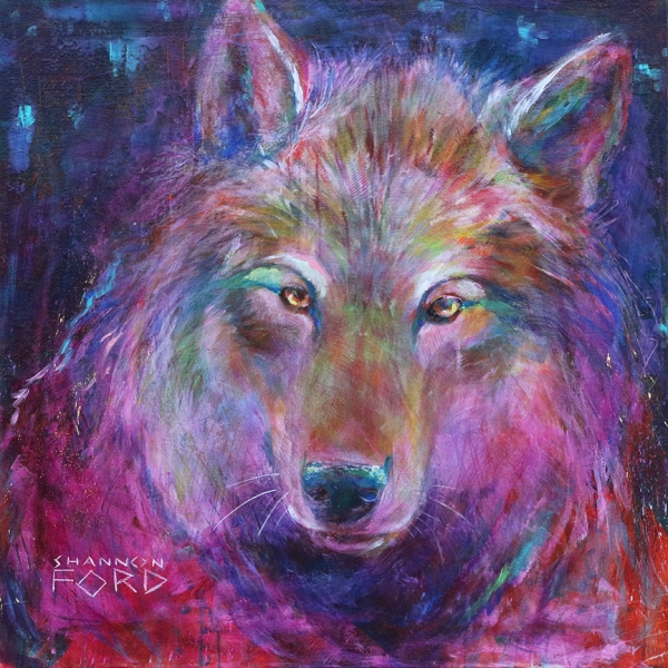 Shannon Ford, She Wolf, 36 X 36 N Acrylic on Canvas with Pipestone, 24 K Gold, Brilliant Cut Yellow Sapphires Brilliant Cut Ruby, Rainbow Moonstone Cabachon, CAEE01015SF s