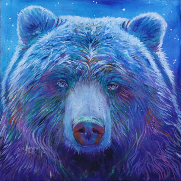Shannon Ford, Twilight Grizzly, 48 X 48 N,Acrylic on Canvas with Pipestone, CAEE02013SF s