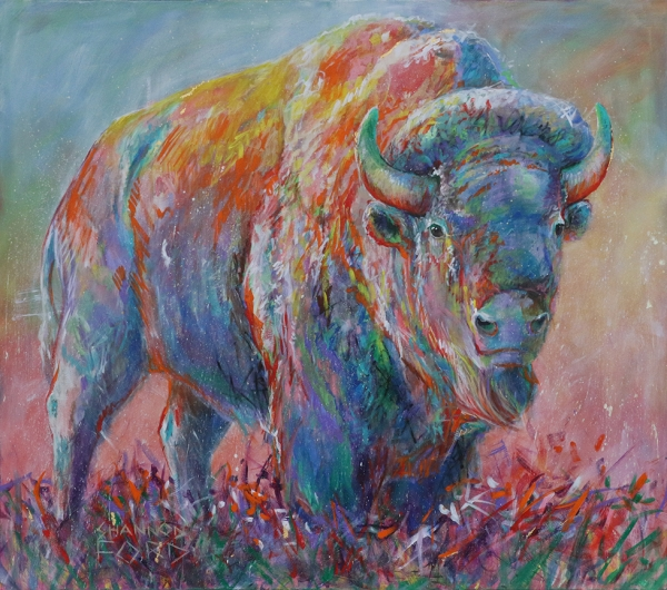 Shannon Ford, Vison Bison, 60 X 68 D, Acrylic on Canvas with 24 K Gold, Brilliant Cut Sapphires, Turquoise, Sugalite, Diamond Dust, Sediment from Head Smashed In Buffalo Jump, CAEE01008SF 2