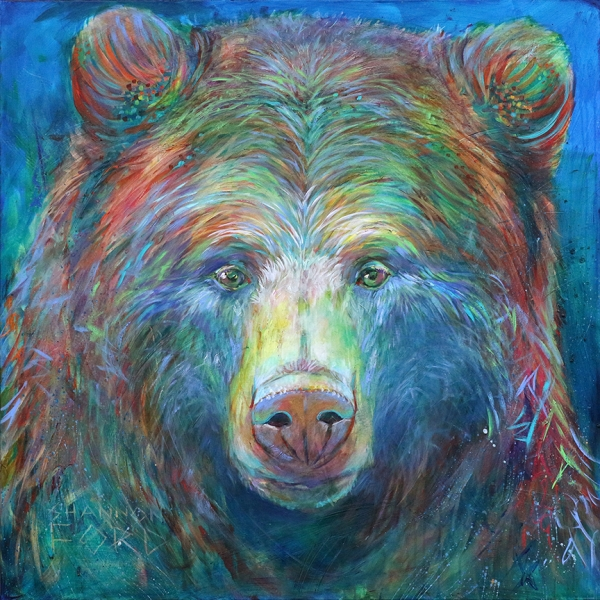 Shannon Ford, Young Grizzly, 48 X 48 N, Acrylic on Canvas with Pipestone, CAEE02017SF s