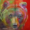 Shannon Ford, Grizzly Bear Fun, 24 X 12 D, Acrylic on Canvas with Diamond Dust lr