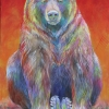 Shannon Ford, Grizzly Pause for Thought, Acrylic on Canvas with Cut Emeralds, Pipestone, Sugalite, Turquoise CAEE01005SF s