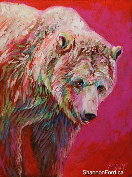 Shannon Ford, Cherry Grizzly, 24 X 18 N, Acrylic on Canvas with Diamond Dust lr