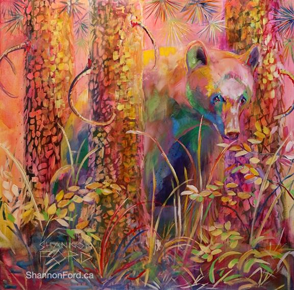 Shannon Ford, Invisible Black Bear , 48 X 48 XD, Acrylic on Canvas with Diamond Dust, 24 K Gold, cut sapphires cut Topaz lr