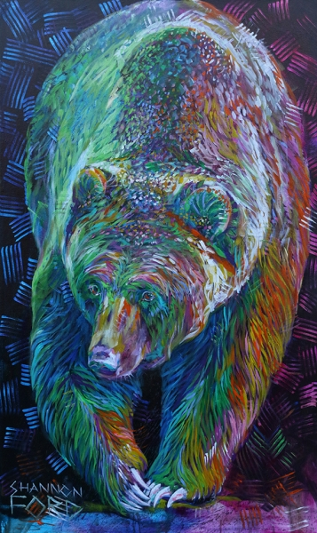 Shannon Ford, King of the Trail, 60 X 36 N, Acrylic on Canvas with Diamond, Turquoise, cut Emeralds lr