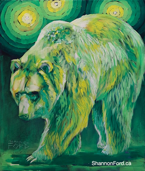 Shannon Ford, Lemon Lime Grizzly, 24 X 20 N, Acrylic on Canvas with Diamond Dust lr