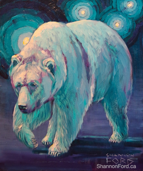 Shannon Ford, Night Walk Grizzly, 24 X 20 N, Acrylic on Canvas with Turquoise and Diamond Dust lr