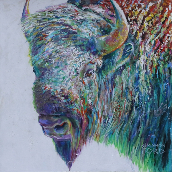 Shannon Ford, Noble Buffalo, 72 X 72 D, Acrylic on Canvas with Pipestone, 24 K Gold, CAEE02019 copy
