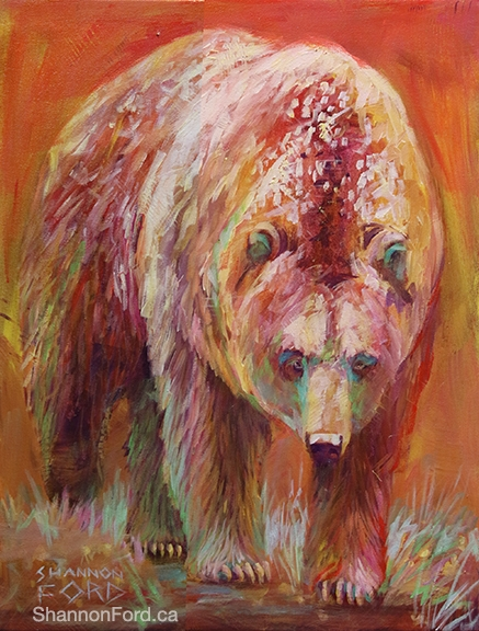 Shannon Ford, Peachy Grizzly, 24 X 20 N, Acrylic on Canvas with Diamond Dust lr