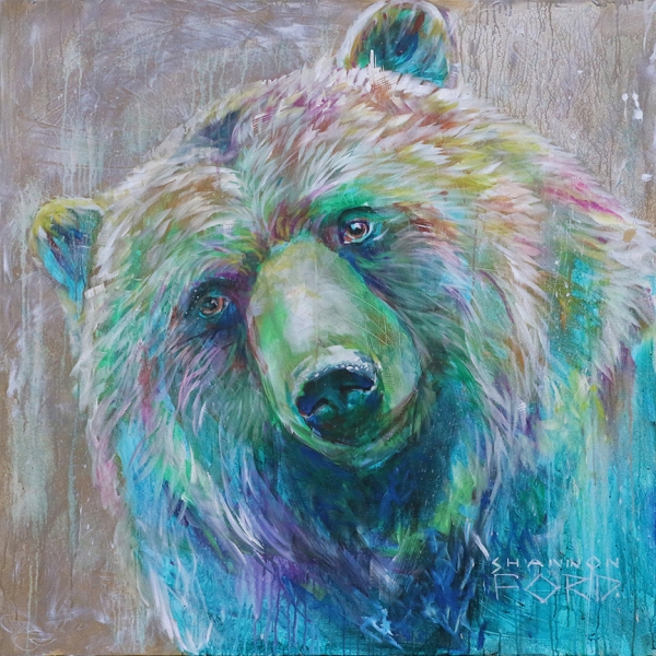 Shannon Ford, Playful Grizz, 48 X 48 N, Acrylic on Canvas with Pipestone, CAEE02012SF 2