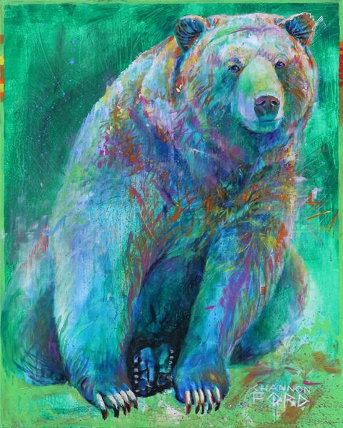 Shannon Ford, Quizzical Grizzly, 60 X 48 N, Acrylic on Canvas with Brilliant Cut Emeralds, Turquoise Nuggets, Diamond Dust, Turquoise, Sugalite, 24 K Gold CAEE01003SF s
