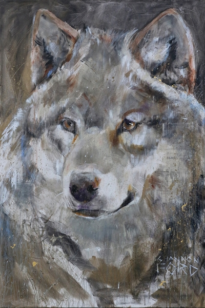 Shannon Ford, Wolf Wonderings, 60 X 40 N, Acrylic on Canvas with Pyrite, Pipestone, 24K Gold CAEE01004SF s