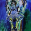 Shannon Ford, Yearling Wolf Spirit, 36 X 24 D, Acrylic on Canvas with Lapis Lazuli and Diamond Dust ls