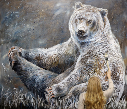 artist painting grizzly bear